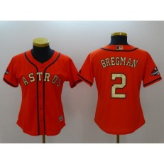 MLB Houston Astros 2 Alex Bregman Orange 2018 Gold Program Cool Base Women Jersey