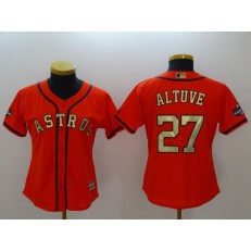 MLB Houston Astros 27 Jose Altuve Orange 2018 Gold Program Cool Base Women Jersey