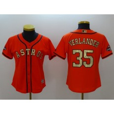 MLB Houston Astros 35 Justin Verlander Orange 2018 Gold Program Cool Base Women Jersey