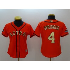 MLB Houston Astros 4 George Springer Orange 2018 Gold Program Cool Base Women Jersey