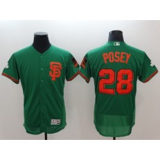 MLB San Francisco Giants 28 Buster Posey Green St Patrick's Day Flexbase Men Jersey
