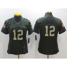 Women Nike New England Patriots 12 Tom Brady Green Salute to Service NFL Jersey