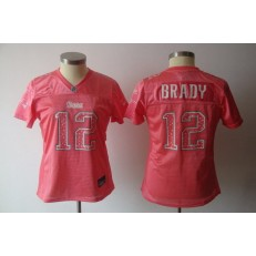 Women Nike New England Patriots 12 Tom Brady Pink Static NFL Jersey
