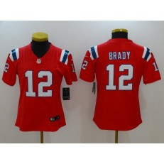 Women Nike New England Patriots 12 Tom Brady Red Vapor Untouchable Limited NFL Jersey