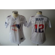 Women Nike New England Patriots 12 Tom Brady White 2011 Fem Fan NFL Jersey