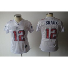 Women Nike New England Patriots 12 Tom Brady White Static NFL Jersey
