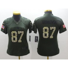 Women Nike New England Patriots 87 Rob Gronkowski Green Salute to Service NFL Jersey