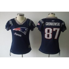 Women Nike New England Patriots 87 Rob Gronkowski Navy Reebok Throwback Field Flirt NFL Jersey