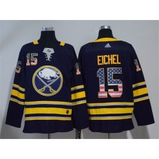 Adidas Buffalo Sabres 15 Jack Eichel Navy Blue Home Authentic USA Flag Stitched NHL Jersey