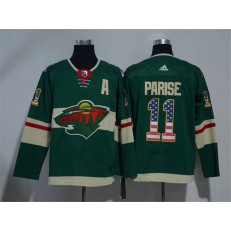 Adidas Minnesota Wild 11 Zach Parise Green Home Authentic USA Flag Stitched NHL Jersey