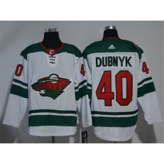 Adidas Minnesota Wild 40 Devan Dubnyk White Road Authentic Stitched NHL Jersey