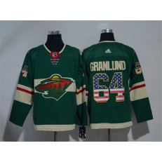 Adidas Minnesota Wild 64 Mikael Granlund Green Home Authentic USA Flag Stitched NHL Jersey