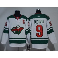 Adidas Minnesota Wild 9 Mikko Koivu White Road Authentic Stitched NHL Jersey