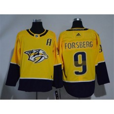 Adidas Nashville Predators 9 Filip Forsberg Yellow Home Authentic Stitched NHL Jersey