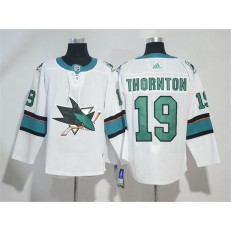 Adidas San Jose Sharks 19 Joe Thornton White Road Authentic Stitched NHL Jersey