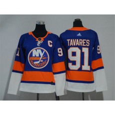 Women Adidas New York Islanders 91 John Tavares Royal Blue Home Authentic Stitched NHL Jersey