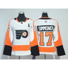 Women Adidas Philadelphia Flyers 17 Wayne Simmonds White Road Authentic Stitched NHL Jersey