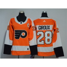Women Adidas Philadelphia Flyers 28 Claude Giroux Orange Home Authentic Stitched NHL Jersey