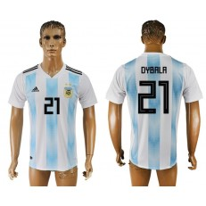 Argentina 21 DYBALA Home 2018 FIFA World Cup Thailand Soccer Jersey