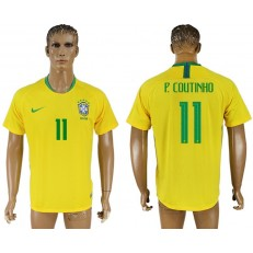 Brazil 11 P. COUTINHO Home 2018 FIFA World Cup Thailand Soccer Jersey