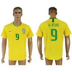Brazil 9 G. JESUS Home 2018 FIFA World Cup Thailand Soccer Jersey