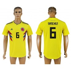 Colombia 6 SANCHEZ Home 2018 FIFA World Cup Thailand Soccer Jersey