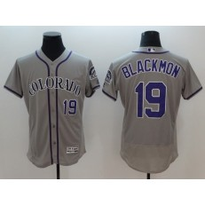 MLB Colorado Rockies 19 Charlie Blackmon Grey Flexbase Authentic Collection Stitched Men Jersey