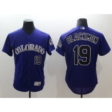 MLB Colorado Rockies 19 Charlie Blackmon Purple Flexbase Authentic Collection Stitched Men Jersey