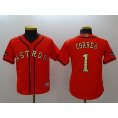 MLB Houston Astros 1 Carlos Correa Orange Authentic 2018 Gold Program Cool Base Stitched Youth Jersey