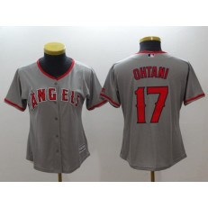 MLB Los Angeles Angels 17 Shohei Ohtani Grey Cool Base Stitched Women Jersey