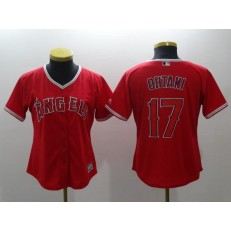 MLB Los Angeles Angels 17 Shohei Ohtani Red Alternate Stitched Women Jersey