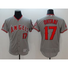 MLB Los Angeles Angels of Anaheim17 Shohei Ohtani Grey Flexbase Authentic Collection Stitched Men Jersey