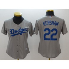 MLB Los Angeles Dodgers 22 Clayton Kershaw Grey Alternate Road Stitched Women Jersey