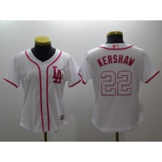 MLB Los Angeles Dodgers 22 Clayton Kershaw White Pink Cool Base Women Jersey