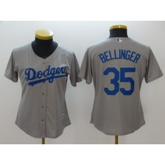 MLB Los Angeles Dodgers 35 Cody Bellinger Grey Alternate Road Stitched Women Jersey