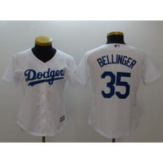 MLB Los Angeles Dodgers 35 Cody Bellinger White Home Stitched Women Jersey