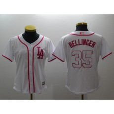 MLB Los Angeles Dodgers 35 Cody Bellinger White Pink Cool Base Women Jersey