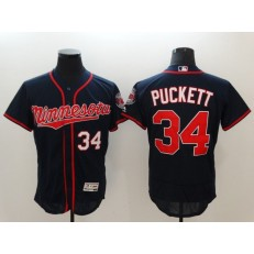 MLB Minnesota Twins 34 Kirby Puckett Navy Blue Flexbase Authentic Collection Stitched Men Jersey