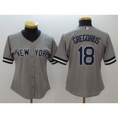 MLB New York Yankees 18 Didi Gregorius Gray Cool Base Women Jersey