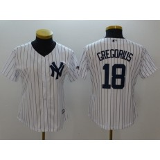 MLB New York Yankees 18 Didi Gregorius White Strip Fashion Stitched Women Jersey
