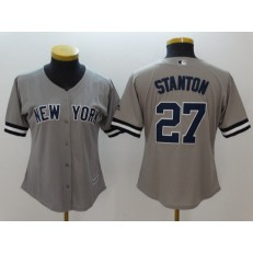 MLB New York Yankees 27 Giancarlo Stanton Gray Cool Base Women Jersey