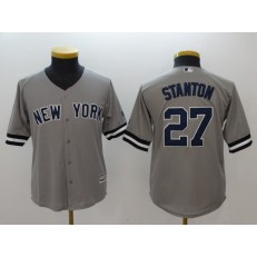 MLB New York Yankees 27 Giancarlo Stanton Gray Cool Base Youth Jersey