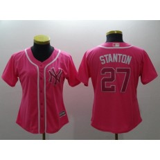 MLB New York Yankees 27 Giancarlo Stanton Pink Cool Base Women Jersey
