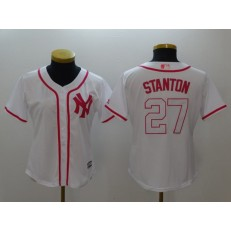 MLB New York Yankees 27 Giancarlo Stanton White Pink Fashion Stitched Women Jersey