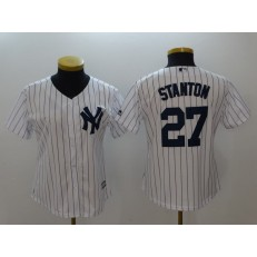 MLB New York Yankees 27 Giancarlo Stanton White Strip Fashion Stitched Women Jersey
