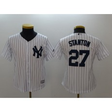 MLB New York Yankees 27 Giancarlo Stanton White Strip Fashion Stitched Youth Jersey