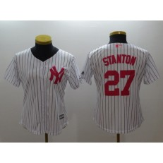 MLB New York Yankees 27 Giancarlo Stanton White Strip Mother's Day Cool Base Stitched Women Jersey