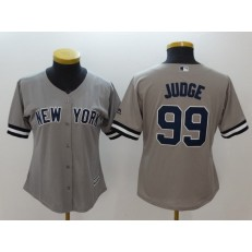 MLB New York Yankees 99 Aaron Judge Gray Cool Base Women Jersey