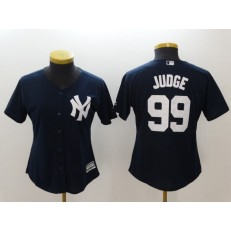MLB New York Yankees 99 Aaron Judge Navy Blue Alternate Stitched Women Jersey