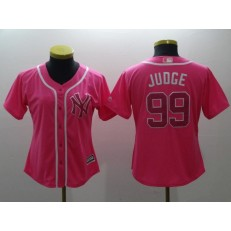 MLB New York Yankees 99 Aaron Judge Pink Cool Base Women Jersey
